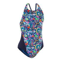 Traje de baño de natación una pieza niña, resistente al cloro Kamiye roller