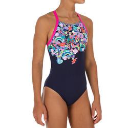 Maillot de bain de natation une pièce fille résistant au chlore Jade roller bleu