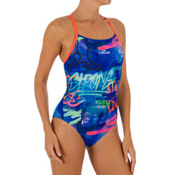 Women swimming Costume Jade V-cut - Printed blue orange