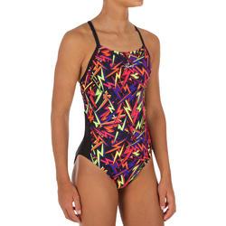 Bañador de natación una pieza para niña, resistente al cloro Lexa storm negro