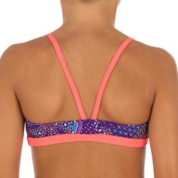 Bikini Deportivo Completo Niña Piscina Natación Nabaiji Riana Skirt Azul/Rosa