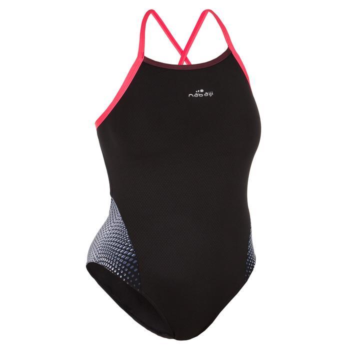 Bañador Natación Piscina Nabaiji Lexa Mujer Forma Espalda X Clasico Negro Coral
