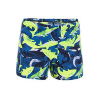 500 FIT BOYS BOXER SWIMMING SHORTS - ALLSHARK YELLOW BLUE