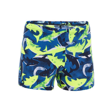 Maillot de bain boxer 500 Fit requins jaune bleu garçons