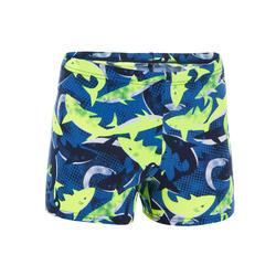 男童四角泳褲500 PEP - 鯊魚圖案/黃色藍色