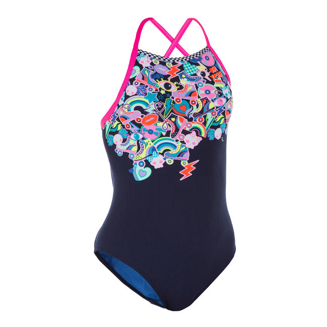 Girl Swimming Costume V- cut - Blue Pink