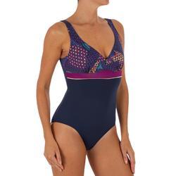Bañador de natación moldeador una pieza mujer Kaipearl Triki eve azul violeta