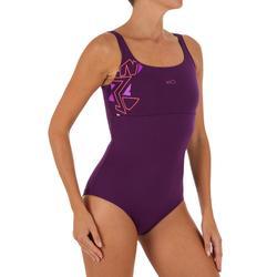 Maillot de bain de natation femme une pièce Heva+ violet geo