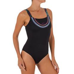 Bañador de natación una pieza mujer Taïs Ethn negro