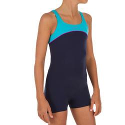 Bañador de natación niña una pieza Taïs shorty azul