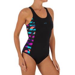 Women Swimming costume V-cut - Black multicolor