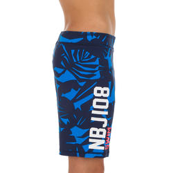 NBJI 100 BOY'S LONG SWIM SHORTS - ALL LIA BLUE