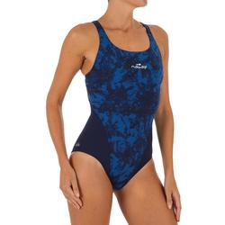 Bañador Natación Piscina Nabaiji Kamiye Mujer Forma Espalda X Competición Azul