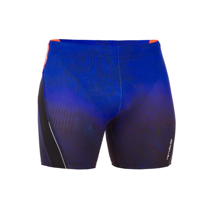 Bañador Natación Bóxer Largo 500 Nabaiji Hombre Negro Azul