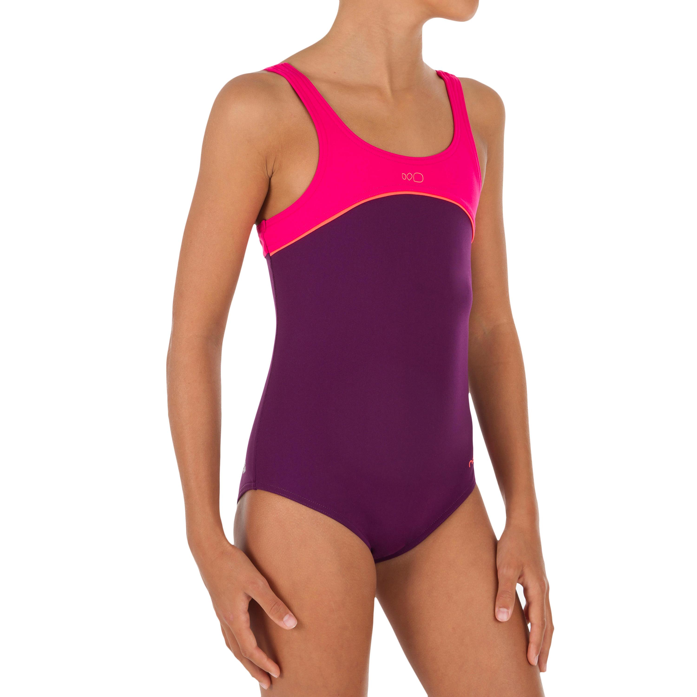 Bañador de natación una pieza niña Taïs violeta rosa