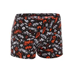 MAILLOT DE BAIN GARÇON BOXER 500 FIT ALL MOBOU ORANGE NOIR