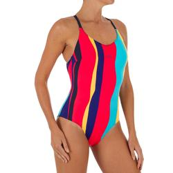 Bañador Natación Piscina Nabaiji Riana Mujer Forma Espalda X Entrenamiento Azul