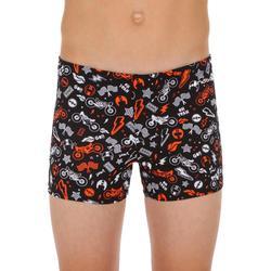 Zwemboxer voor jongens 500 Fit All Mobou zwart/oranje
