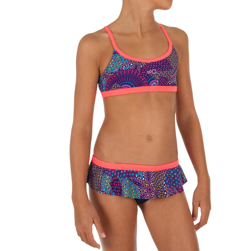 Bikini voor zwemmen meisjes Riana rokje Eve roze/groen