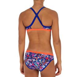 Top Deportivo Niña Bikini Piscina Natación Nabaiji Jade Estampado Azul/Rojo