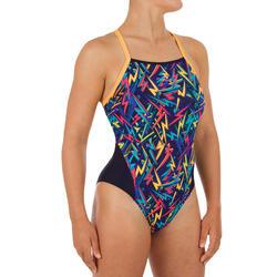 Bañador Natación Piscina Nabaiji Lexa Mujer Forma Espalda X Estampado Rayos Azul