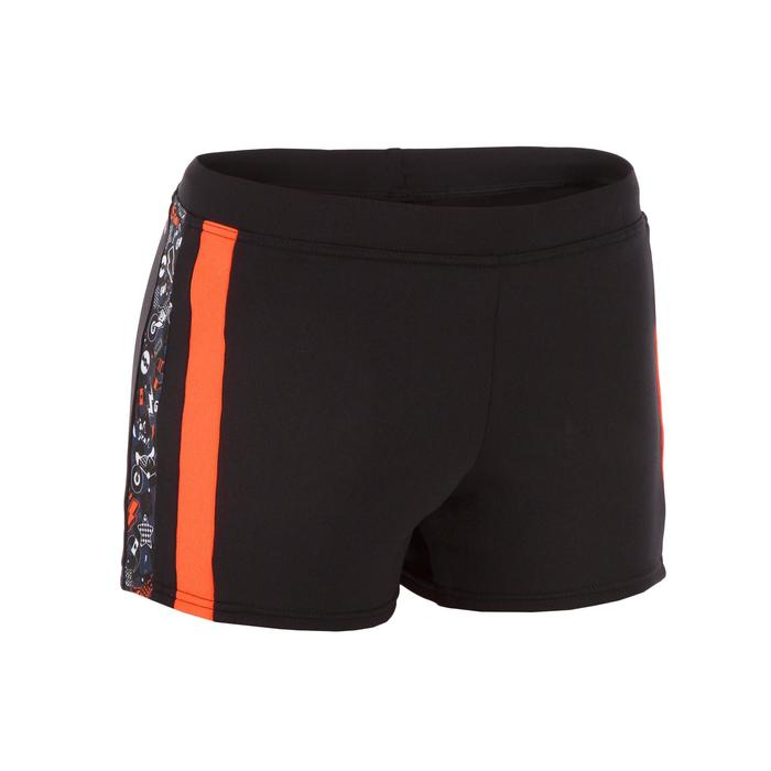 Badehose Boxer Yoke 500 Jungen schwarz/orange
