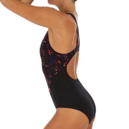 Bañador de natación una pieza mujer resistente al cloro Kamiye Imo negro
