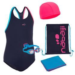 Zwemset voor meisjes 100 Start zwembroek, brilletje, badmuts, handdoek, zwemtas
