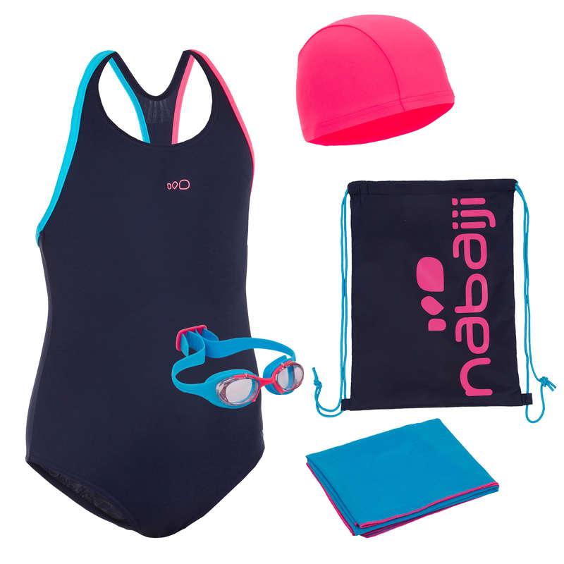Maedchen-Badeanzug Schwimmen - Schwimm-Set Start blau/rosa NABAIJI - Schwimmbekleidung