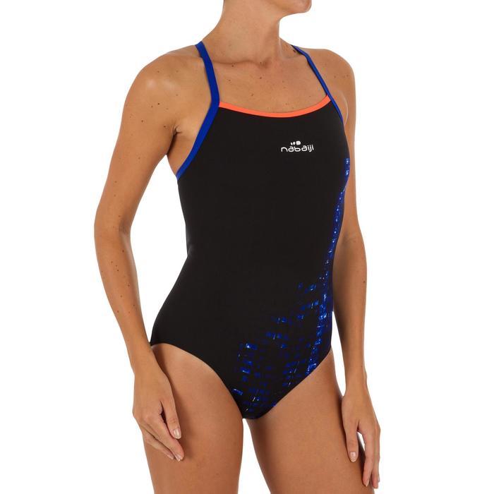 Bañador Natación Piscina Nabaiji Jade Mujer Forma Espalda X Escotado Negro Azul