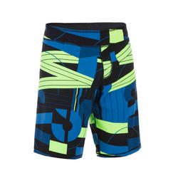 Men swimming shorts long - Printed blue green