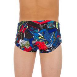 Zwemslip jongens met brede elastische boord 900 All Rockou blauw