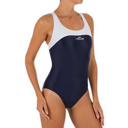 Bañador de natación una pieza mujer resistente al cloro Leony azul blanco