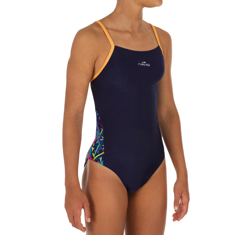 Blue yellow Lexa girls' chlorine-resistant one-piece swimsuit