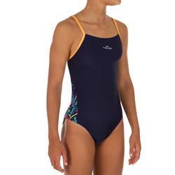 Bañador de natación una pieza para niña, resistente al cloro Lexa azul amarillo