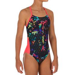 Bañador de natación una pieza para niña, resistente al cloro Lexa rocki coral
