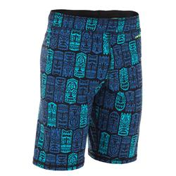 100 BOY'S LONG SWIMMING SHORTS - ALL TIKI NOIR