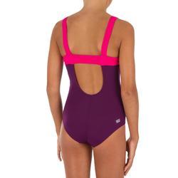 Maillot de bain de natation fille une pièce Taïs violet rose