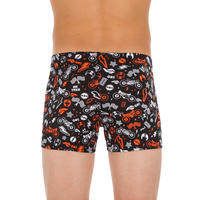 500 FIT BOY'S BOXER SWIMMING SHORTS ALL MOBOU ORANGE BLACK