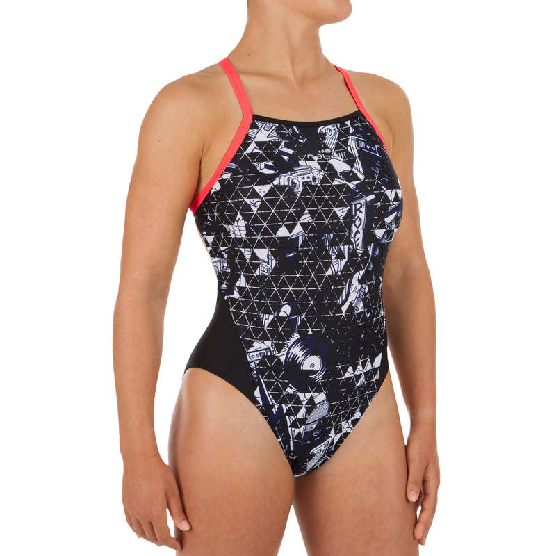 WOMEN'S SWIMSUITS Swimming - Black white W Lexa swimsuit NABAIJI - Swimwear