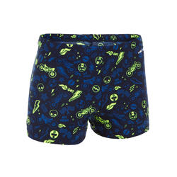 500 FIT BOY'S BOXER SWIMMING SHORTS - ALL MOBA YELLOW BLUE