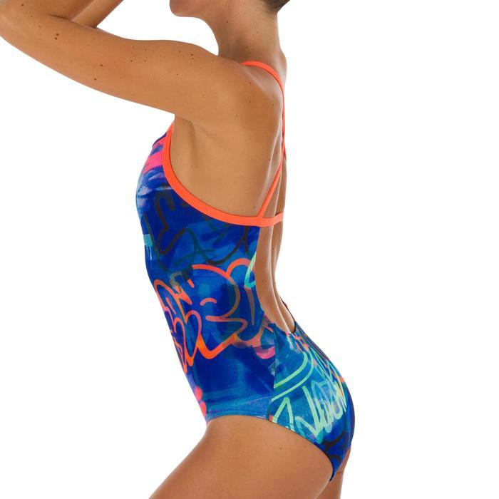 Bañador Natación Piscina Nabaiji Jade Mujer Forma Espalda X Escotado Azul Fluor
