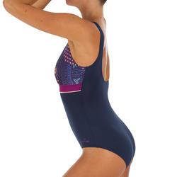 Kaipearl Women's Body-Sculpting One-Piece Swimsuit - Triki Eve Blue Purple