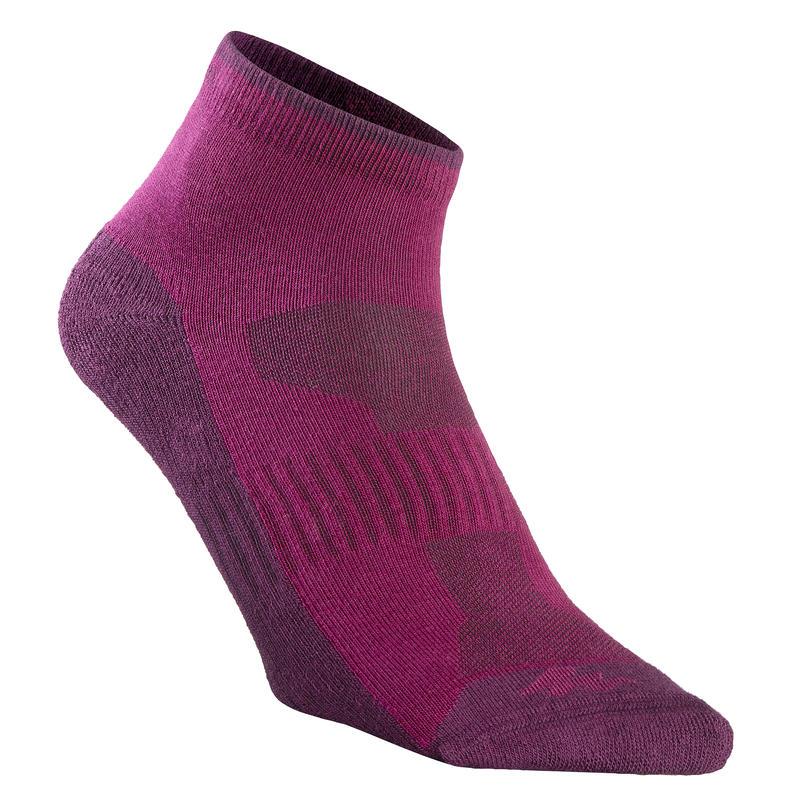 Ljubičaste srednje visoke čarape za planinarenje NH100 (2 para)