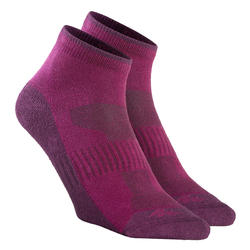 Country walking Mid socks X 2 pairs NH 100 - Purple