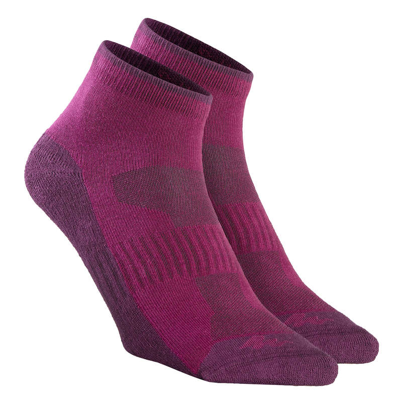 HIKING SOCKS Hiking - NH100 Mid X 2 pairs - purple QUECHUA - Outdoor Shoe Accessories