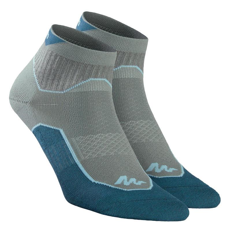 Country walking socks - NH500 Low - X 2 pairs - dark khaki