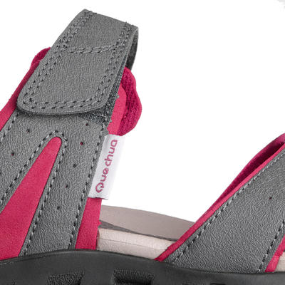 NH100 women's country walking sandals – grey / pink