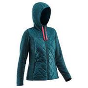 Turkizno moder ženski pohodniški hibridni pulover NH500