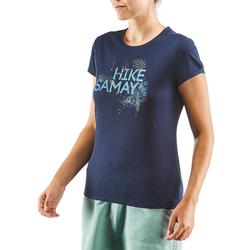 Camiseta Manga Corta de Montaña y Senderismo Quechua NH500 Mujer Azul Marino